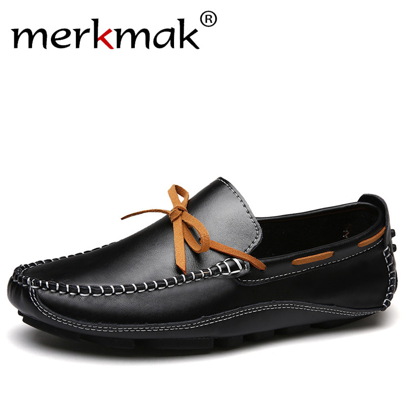 Merkmak Luxury Brand Genuine Leather Men Flats High Quality Men Loafers Men Moccasin Slip On Men Leather Shoes Drop Shipping branded men s penny loafes casual men s full grain leather emboss crocodile boat shoes slip on breathable moccasin driving shoes
