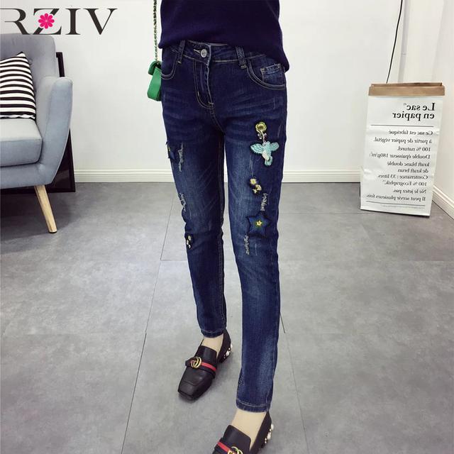RZIV 2016 outono e inverno de cintura alta calça jeans bordados casual holes decorado jeans calça jeans de cintura alta