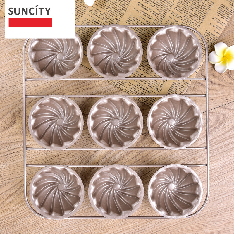 9 Cups Tart Pan Metal Nonstick Flower Shape Muffin Cupcake  Pan Tray - Kitchen, Dining and Bar