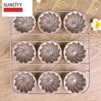 9 copos tart pan antiaderente metal flower forma muffin pan queque bandeja de estanho 3d baking pan pudim bolo diy cozimento ferramentas bm-049