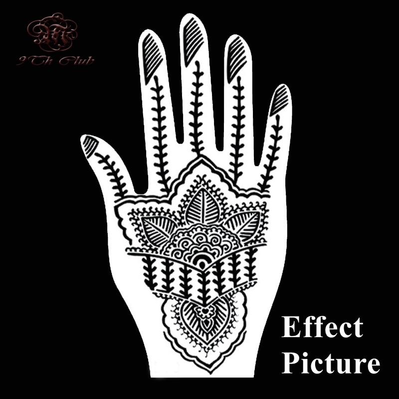 2 Pair Indian Henna Tattoo Stencil, Blomst Hånd Mehndi Henna Glitter - Tatovering og kroppskunst - Bilde 6