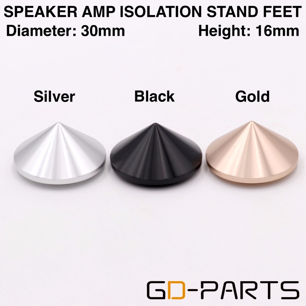 Hifi Audio Solid Full Aluminum Isolation Feet Spikes For Amplifier Speaker Turntable DAC CD Player 30x16mm Silver Black Gold