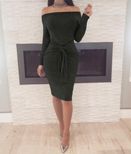 European and American spring fashion sexy womens wear black grey wine red waist band a one-word neckline dress.