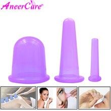 3 pçs vácuo cupping silicone corpo copos conjunto para rosto pescoço volta olhos massagem anti celulite massageador ventosa tratamento