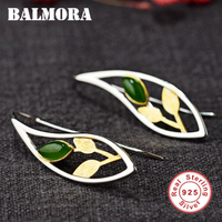 BALMORA 925 Sterling Silver Leaf Earrings for Women Lady Party Gift Brincos Delicate Earrings Fashion Jewelry Aretes SY31655
