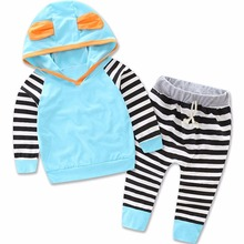 Cute Baby Toddler Infant Girls Kids Children Striped Long Sleeve Tops Pants Sets Tee T Shirts Long Trousers Clothing Sets 2pcs