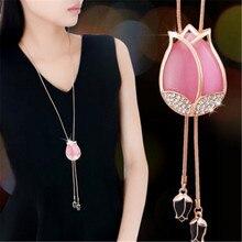 Lemon Value Fashion Charms Statement Opal Crystal Pendant Necklace Luxury Rhinestone Tassels Long Necklace Women Jewelry A016