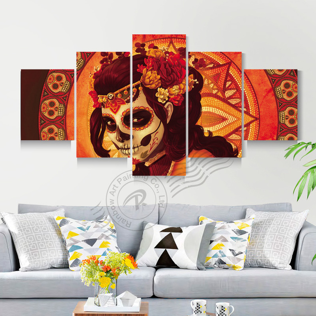 5 Panel Day Of The Dead Face Group Wall Art Canvas Painting Home Decor  Modular Wall