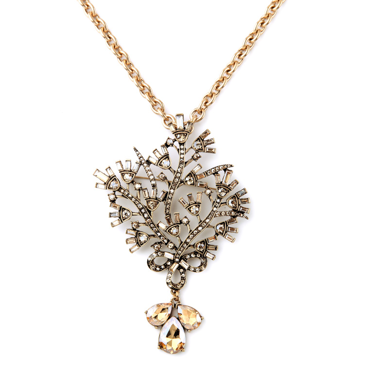 Big Pendants Removable Necklace For Women Rhinestone Elegant Vintage Gold Color Mujer Necklaces Long Chain Clothes Holders
