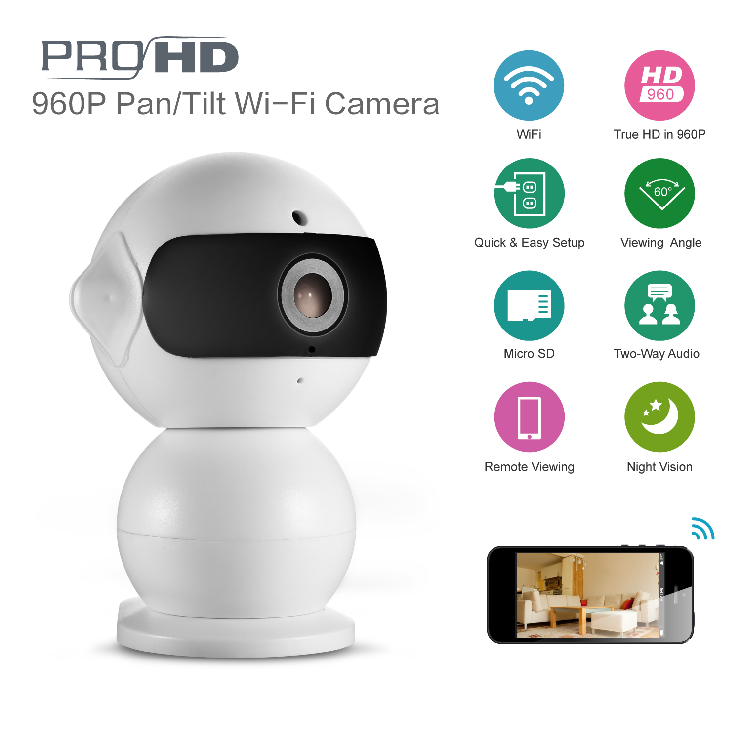 FB SANNCE IP Camera 960P Wi-Fi Wireless IP Camera CCTV Security Camera Two Way Audio Baby Monitor Easy QR CODE Scan Connect