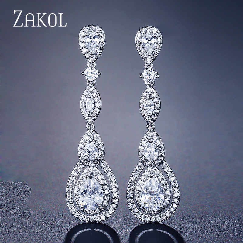 ZAKOL Luxury Water Drop Pear Cubic Zircon Long Dangles Drop Earrings for Elegant Women Bridal Wedding Jewelry Dress FSEP2114