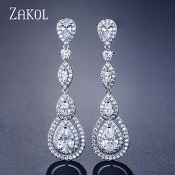 ZAKOL Роскошные висячие серьги-капли с кубическим цирконием для элегантных женщин, свадебные ювелирные изделия FSEP2114