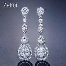 ZAKOL Luxury Water Drop Pear Cubic Zircon Long Dangles Earrings for Elegant Women Bridal Wedding Jewelry Dress FSEP2114