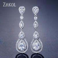 Zakol Роскошные Water Drop груша кубический циркон болтается длинный серьги для элегантных Для женщин Свадебные украшения платье FSEP2114