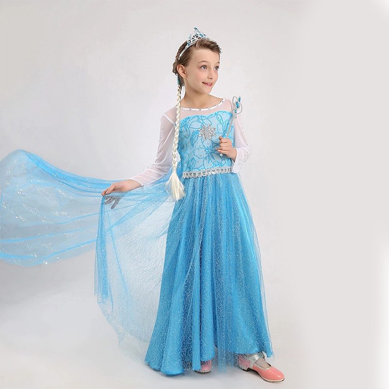 HTB1Y9AZXXY7gK0jSZKzq6yikpXav Girls Dress Christmas Anna Elsa Cosplay Costume Dresses Girl Princess Elsa Dress for Birthday Party Children Kids Clothing