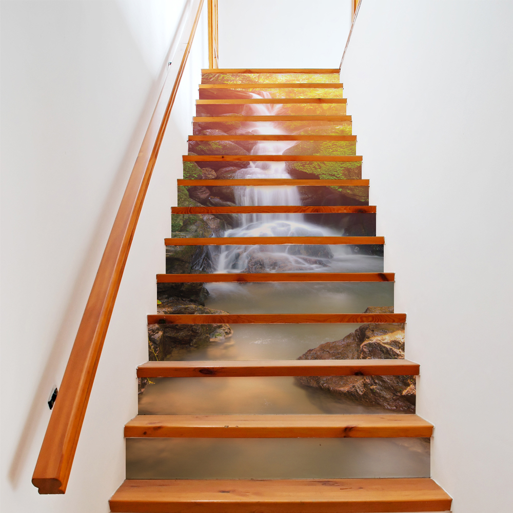 13 pièces/ensemble 3D escalier autocollants soleil cascade paysage PVC étanche vinyle Art décalque mur bâton salon décoration de la maison