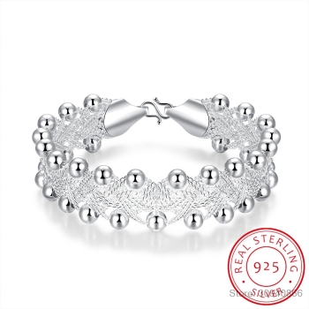 Hot Sales Promotions! Hiphop Punk Style Bangles Bracelets Nice 925 Sterling Silver Rock Design Ball Beads Jewelry Top Quality
