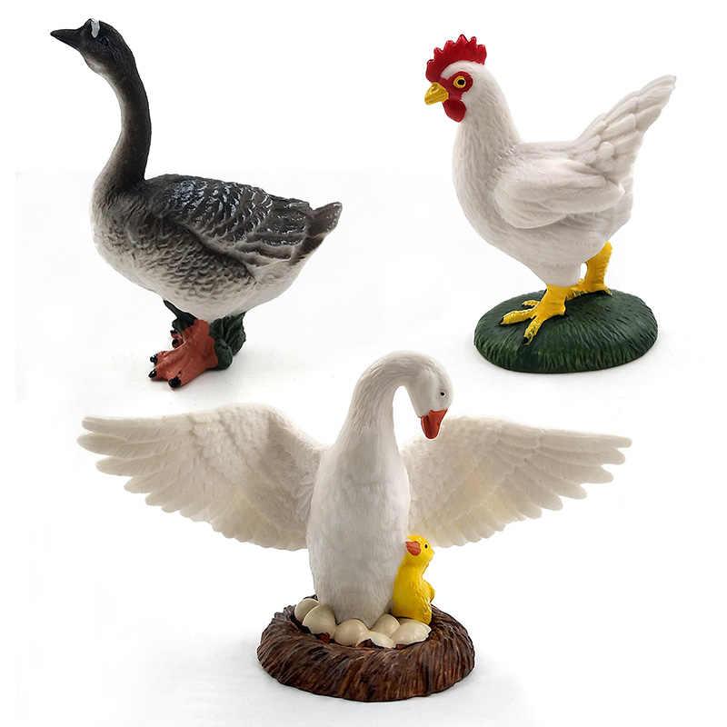 Милая курица утка гусь фигурка игрушки с фермерской тематикой пластиковые модели животных подарок для детей украшения дома аксессуары ПВХ ремесла статуя