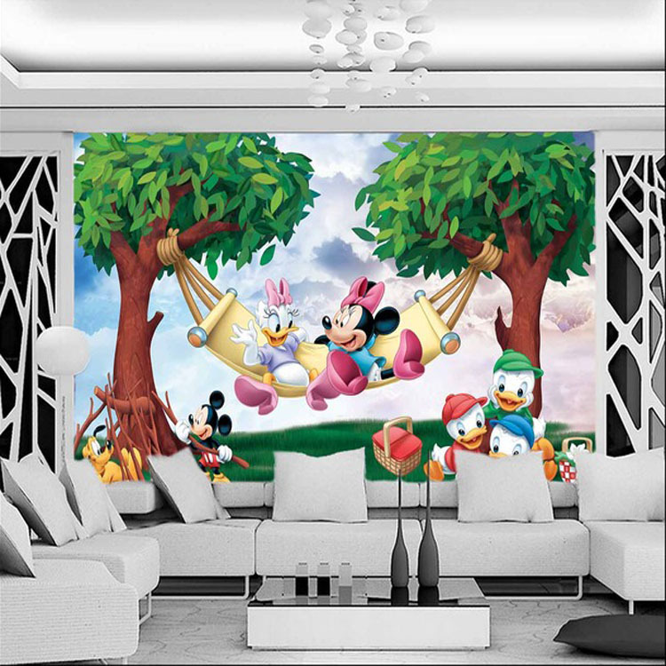 Buy cute mickey minnie photo wallpaper for Cartoon mural wallpaper