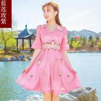 Net yarn embroidered chiffon dress female 2018 spring summer dresses women's sweet slim fairy seaside resort beach dress ladies
