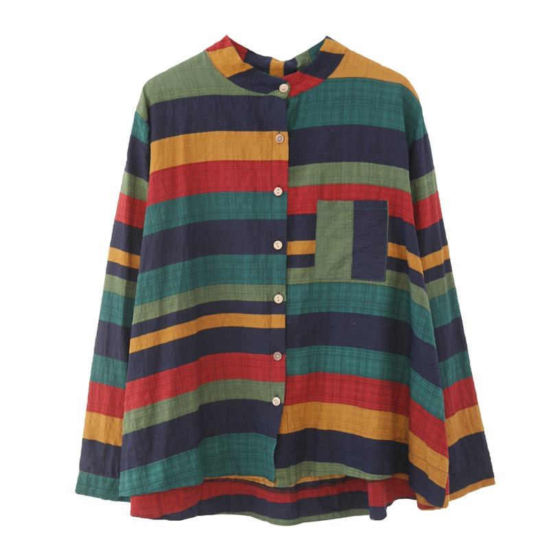 Women Multicolor Striped Shirt Casual Long Sleeve Button Blouse Plus Size Casual Women spring Summer Elegant Cotton Top 5
