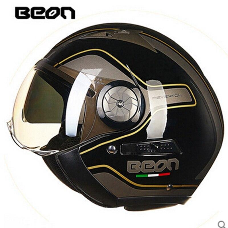 БЕОН мотоцикл Ретро шлем мотоцикл мотокросс шлем capacete КАСКО открытым лицом 3/4 струи ретро бренд шлем Защитное снаряжение