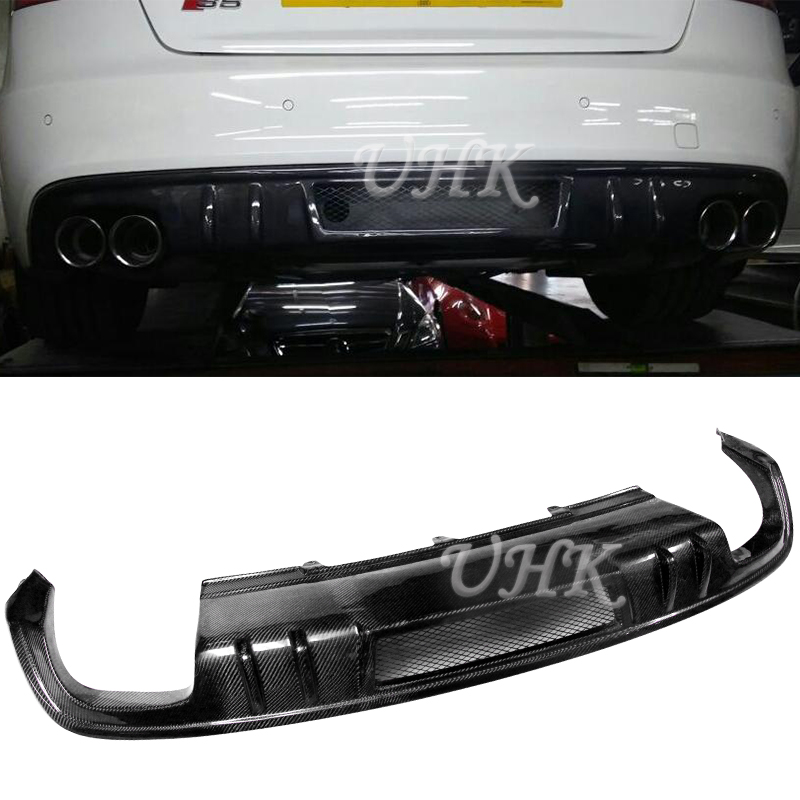 UHK For Audi A5 2012 UP Carbon Fiber Rear Diffuser Sport DMT Style BodyKit Splitter Bumper Lip Accessories Spoyler
