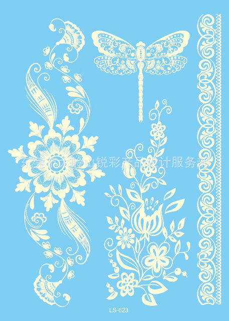 Waterproof Body Art Tattoo Sticker For Women White Flowers Bracelet Wedding Jewelry Lace Flower Flash Tattoo LS-623e