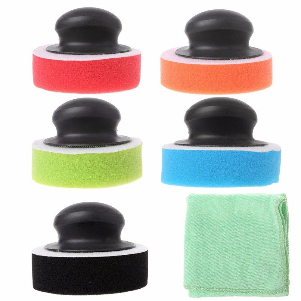1 Set Handle+Sponge+Towel Polishing Buffing Pad For Car Waxing Polisher Tool Care New