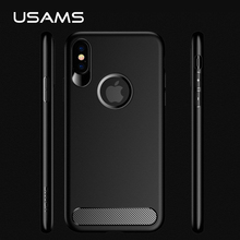 Фотография USAMS Rugged Armor Case for iPhone 8 Carbon Fiber Texture Military Grade Drop Resistance Flexible Cases for iPhone 8 Capa TPU