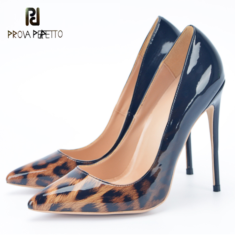 Prova Perfetto Sexy Lady Nightclub Pumps Shoe Black Shiny Leather Leopard Pointy Toe Slip On Thin Heel Shoes Size 34-43EU 2018 цена