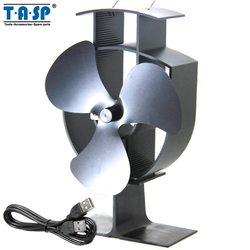 TASP 6 150mm Multifunctional Heat Powered Eco Stove Fan and USB Mini Fan for Wood Burning Fireplace