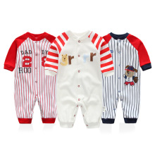 The New Baby Clothing Organic Cotton Fall Long sleeved Baby Climb Clothes Red and Blue Striped Baby Jumpsuit Newborn Rompers