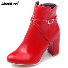 AicciAizzi Size 33-45 Sexy Ladies High Heel Boots Women Round Toe Thick Heels Boot Warm Winter Fashion Dating Female Botas Mujer