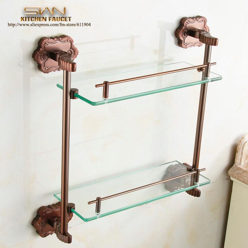 Redwood Color Bathroom Shelf Dual Tiers With Towel Bar