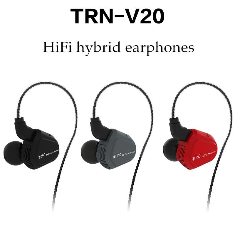 2018 новые TRN V20 1DD + 1BA Гибридный в ухо наушники HIFI DJ монитор Запуск спортивные наушники ушной гарнитуры с 2PIN съемная