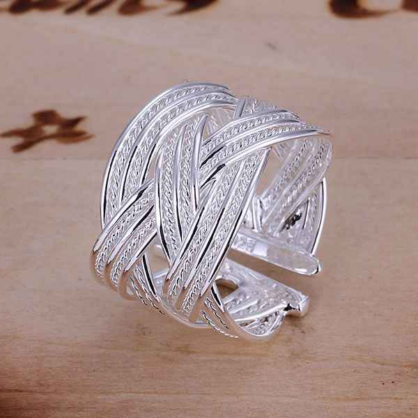 Wholesale 925 jewelry silver plated ring engagement wedding Bridal fashion jewelry ring Big Web Ring-Opened JZ-R024