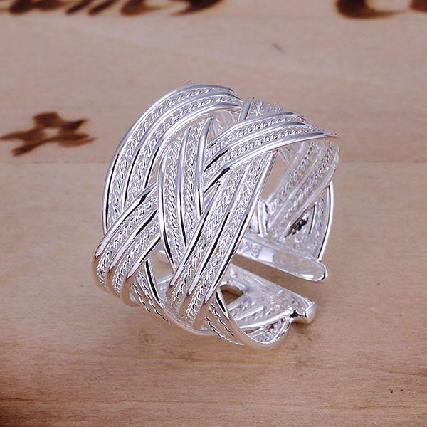 סיטונאי 925 תכשיטי כסף בציפוי טבעת תכשיטי אופנה טבעת אירוסין חתונת כלה ביג אינטרנט טבעת נפתח JZ-R024