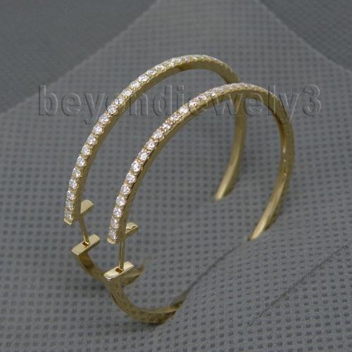 Hoop Earrings Diamond Fine-Jewelry Gold Real Solid 14k for Girl Simple-Design Loving