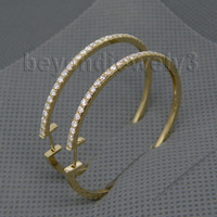 Cool Solid Real 14k Gold Hoop Earrings For Girl Simple Design Loving Diamond Fine Jewelry Christmas Gift WE005B