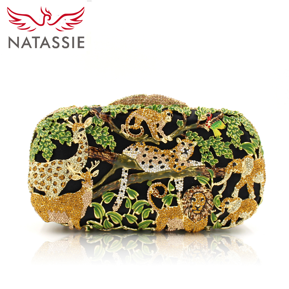 ФОТО NATASSIE Women Evening Bags Ladies Crystal Purses Female Zoo Animal Party Clutches Bag