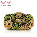 NATASSIE Women Evening Bags Ladies Crystal Purses Female Zoo Animal Party Clutches Bag