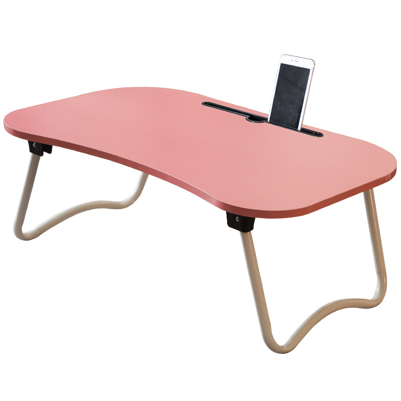 1 PINK Portable Mini Computer Desk Foldable Laptop Desk Table for Bed Sofa Simple writing study table with phone groove simple wooden folding table simple desk writing desk computer table portable dining table