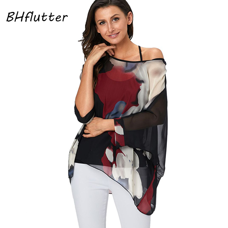 BHflutter Women Tops Off Shoulder Sexy Summer Blouses 2019 New Arrival Color Spliced Casual Loose Chiffon Shirts Camisas Mujer
