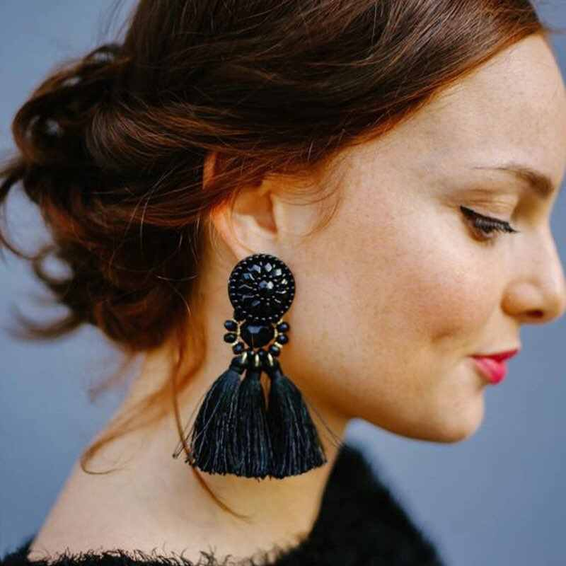 Hot Fashion Women Boho Tassel Dangle Fringe Earring Vintage Ethnic Statement Tassel earrings fashion Drop jewelry Charms e0502