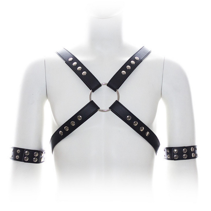 Men's Belts Men Sexy Punk Leather Bustier Corset Sculpting Chest Belt Leather Suspender Braces Pants With Arm Bracelets Men Sexy Accessory