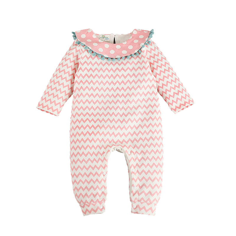 Baby Girl Fashion   Romper   Autumn Polka Dot Baby   Romper   Wave Striped Newborn Jumpsuit Ropa Bebes Body Sweet Baby Princess Clothes