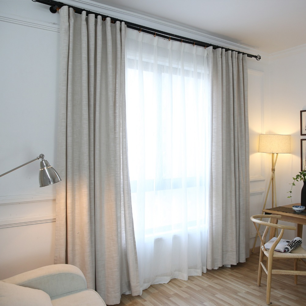 Japan Solid Curtains for Living Room Window Curtains for Bedroom Kitchen Modern Sheer Voile Drapes 1PC