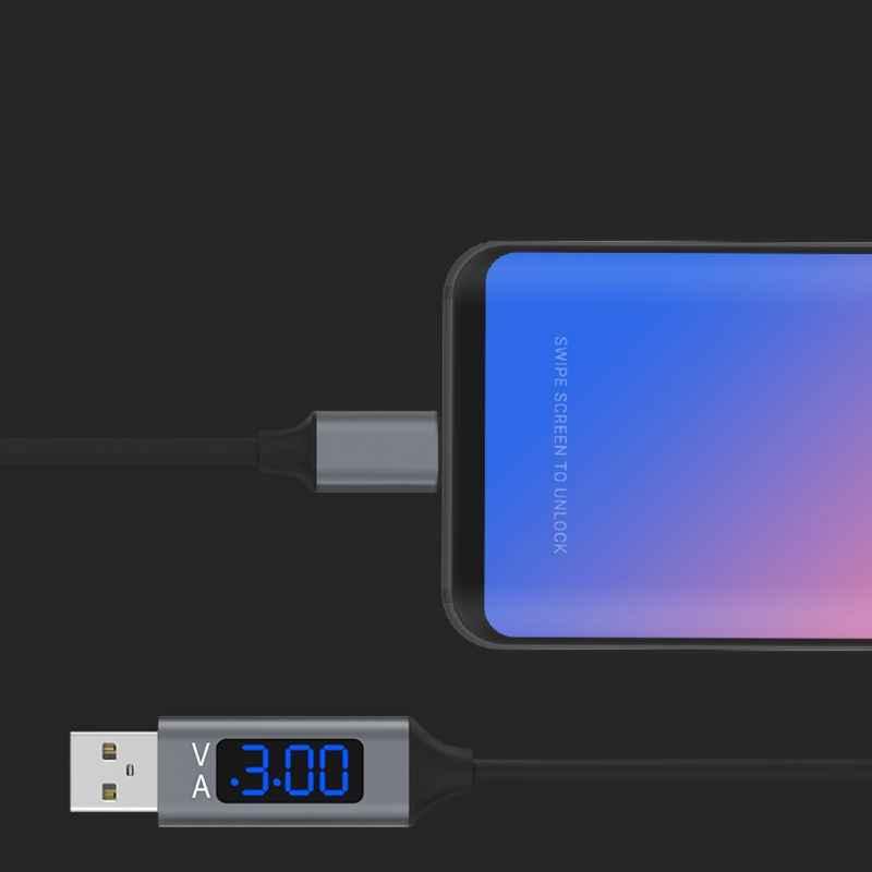 2019 QC 3.0 mikro usb Hızlı değişim veri sync kablosu Ile Voltaj Akımı LED Ekran