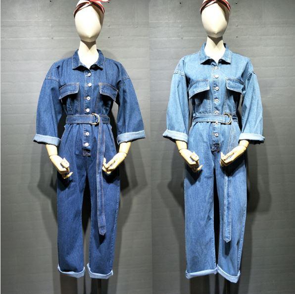 De Manches Bas Jeans Le Mode pu Tournent Vers Ceinture Combinaisons Salopette Ceintures Streetwear Longue Femmes Avec Bleu Longues Ciel Denim 4aq40d
